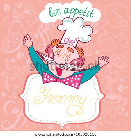 """Cheerful chef with catering tray says """"bon appetite!"""" Nice background with Funny Chef and coffee pattern. - stock vector"""