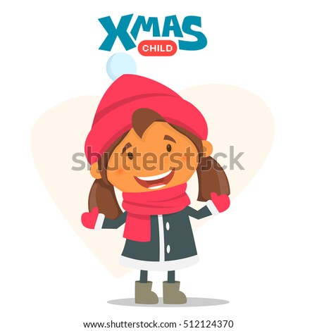 Cheerful child. Winter illustration on the theme of Christmas and New Year