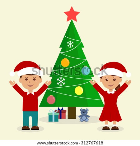 Cheerful children, boy and girl finding gift boxes under fir tree, Christmas holiday illustration, funny cartoon characters isolated on light background.  - stock vector