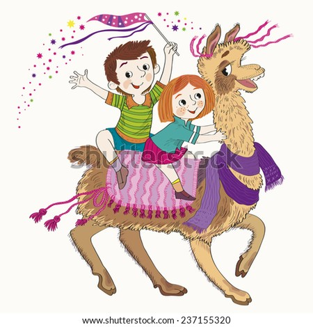 Cheerful children (boy and girl) go astride the llama.Illustration done in cartoon style. Children astride the llama.-Illustration - stock vector