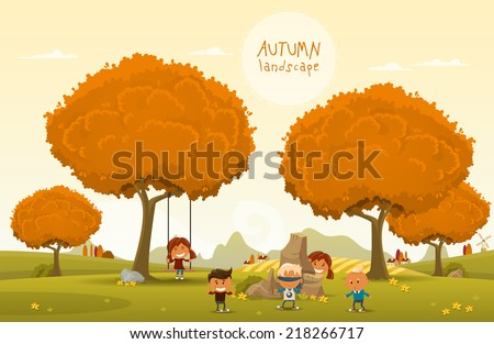 Cheerful children play outdoors. Vector illustration of Autumn theme