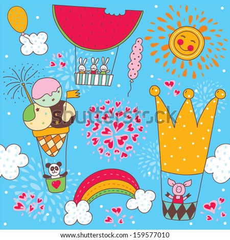 Cheerful children's pattern with little animals. Seamless pattern can be used for wallpaper, pattern fills, web page background, postcards. - stock vector