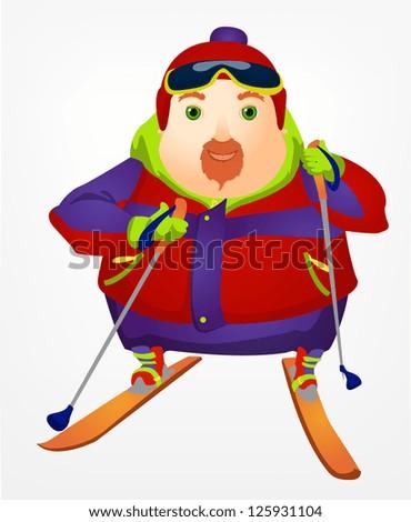 Cheerful Chubby Man - stock vector