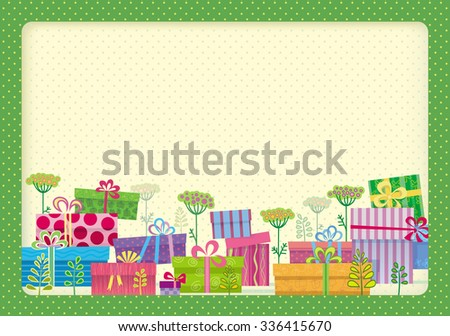 Cheerful clearing of gift boxes and flowers. Application in light green frame. - stock vector