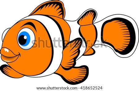 cheerful clown fish swimming in the ocean, vector - stock vector