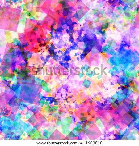 Cheerful colors. Fun. Festive background. Spray. Summer mood. Flat transparent squares. Abstract seamless template - stock vector