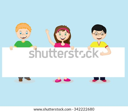 Cheerful cute kids holding hands in the white sheet - stock vector