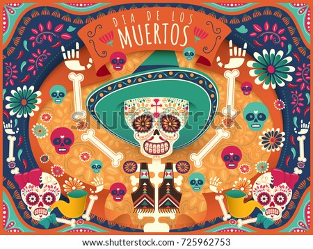 Cheerful Day of the Dead poster, colorful skeleton and skulls dancing happily in orange and turquoise tone in flat style, holiday's name in Spanish