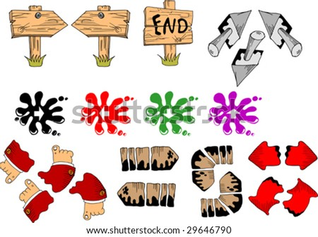 Cheerful directional markers of various forms and colours - stock vector