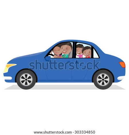 Cheerful family driving in a car isolated. Father driving the car. - stock vector