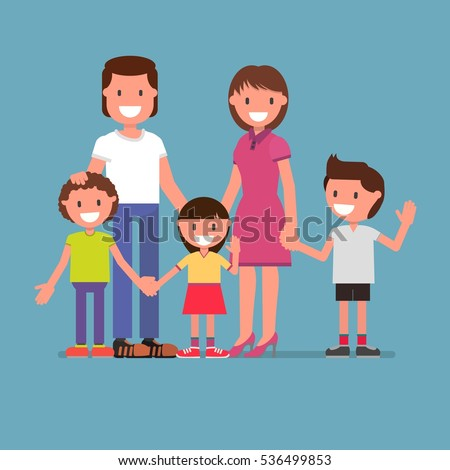 cheerful family portrait, family photo, happy family, mom, dad, son, daughter. Parents and children. Vector illustration. flat design style. model suitable for animation (individual segments)
