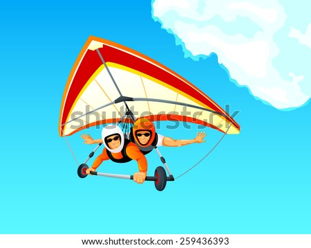 Cheerful hang gliding tandem flying in sky