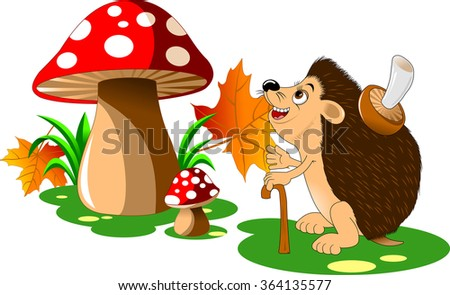 cheerful hedgehog with a big mushroom on the back;