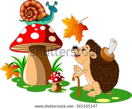 cheerful hedgehog with a big mushroom on the back