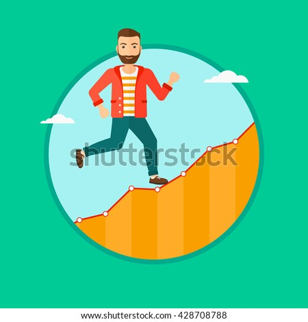 Cheerful hipster businessman with the beard running along the growth graph. Businessman going up. Successful business concept. Vector flat design illustration in the circle isolated on background. - stock vector