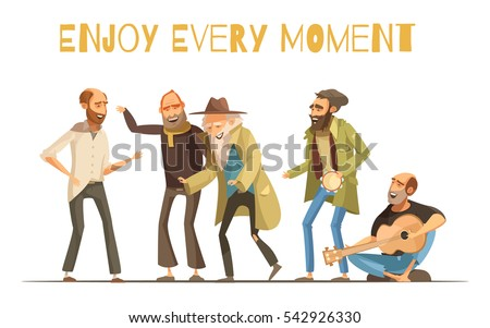 Poor man stock images royalty free images vectors shutterstock cheerful homeless people design in cartoon and retro styles with singing men and music instruments vector sciox Images