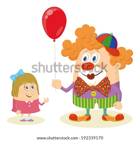 Cheerful kind circus clown in colorful clothes gives a little girl a balloon, holiday illustration, funny cartoon character, isolated on white background. Vector - stock vector