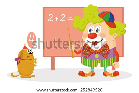 Cheerful kind circus clown in colorful clothes with trained dog solving arithmetic exercises on a blackboard, funny cartoon characters isolated on white background. Vector - stock vector