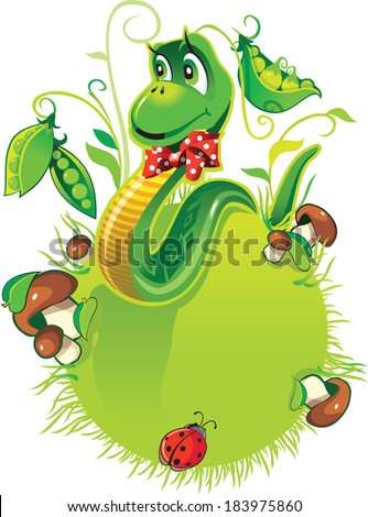 Cheerful, kind snake with a red bow with white polka dots on a green ball with green grass, mushrooms and green beans.