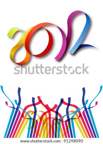 Cheerful new year 2012 in white background - stock vector