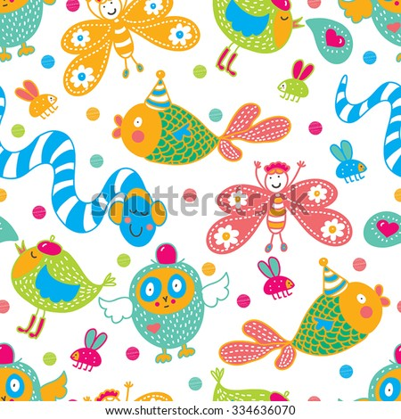Cheerful party. Kids seamless pattern. Seamless pattern can be used for wallpaper, pattern fills, web page background, postcards. - stock vector