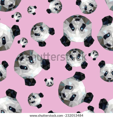 cheerful pattern of muzzles stylish pandas on rose draw a triangle vector illustration