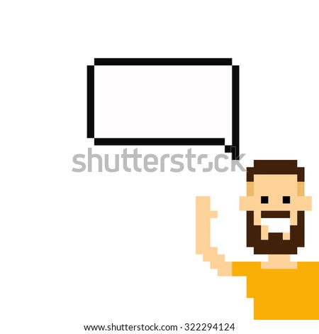 Cheerful pixel art 8-bit bearded guy showing up from the corner with speech bubble
