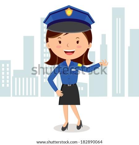 Cheerful policewoman. Vector illustration of a policewoman on duty. - stock vector