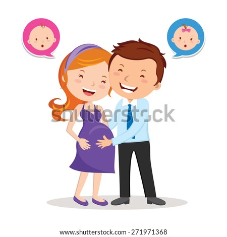 Cheerful pregnant couple. Beautiful young couple expecting baby with speech bubbles. - stock vector