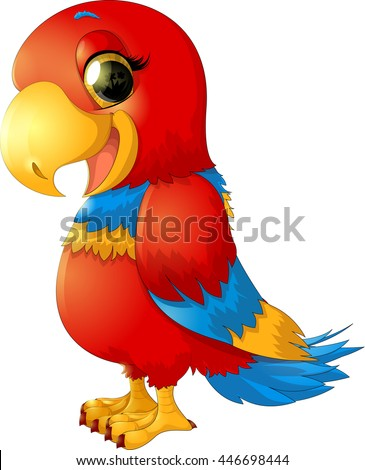cheerful red parrot - stock vector