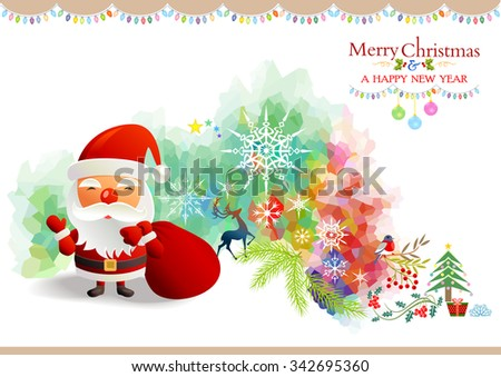 Cheerful Santa carrying a big red sack in a colorful world of Christmas  - stock vector