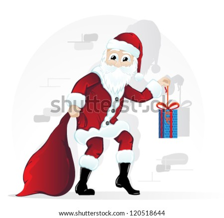 Cheerful Santa Claus with a bag and a bright gift box - stock vector