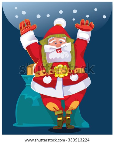 Cheerful Santa, wishes people a Happy New Year and Merry Christmas.Vector - stock vector