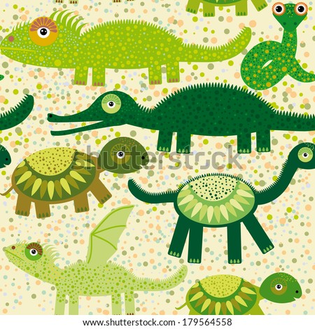 Cheerful seamless pattern with reptiles crocodile, turtle, dragon, iguana, snake. Green background. vector - stock vector
