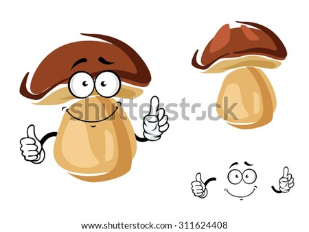 Cheerful smiling cartoon porcini mushroom giving a thumbs up gesture, isolated on white - stock vector