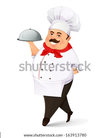 Cheerful smiling cook with tray on white background - stock vector