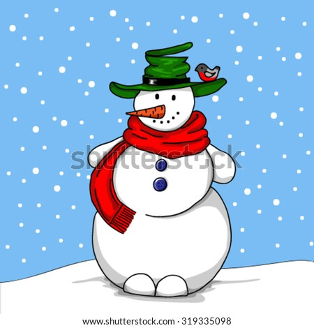 Cheerful snowman in green hat standing in the snow, bullfinch, snow, winter. - stock vector
