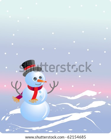 Cheerful snowman in red muffler and bowler hat on white background - stock vector