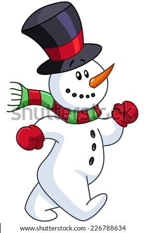 Cheerful snowman walking - stock vector