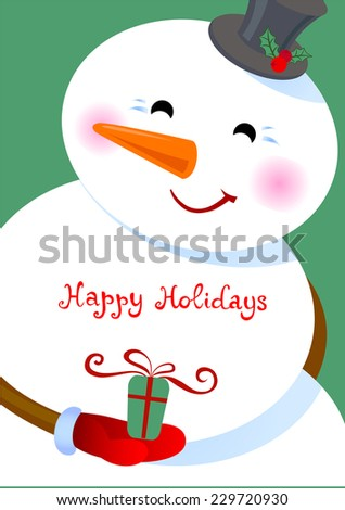 Cheerful snowman with a gift in a hand. - stock vector