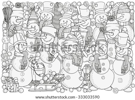 Cheerful snowmen. Winter, snow, sled, snow, trees, hats, carrot, buttons, threads. Merry Christmas, Happy New Year. Pattern for coloring book. A4 size. Black and white.  Made by trace from sketch.  - stock vector
