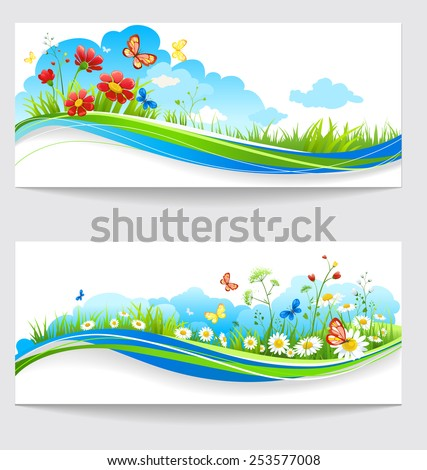 Cheerful summer banners with green grass and flowers - stock vector