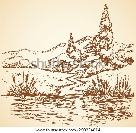 Cheerful summertime view: narrow track from groves to overgrown creek. Vector monochrome freehand sketchy linear drawn backdrop in doodle style pen on paper with space for text on sky - stock vector
