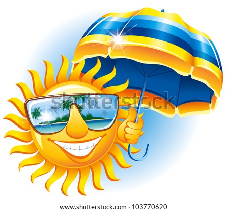 Cheerful sun in the sunglasses with an umbrella - stock vector