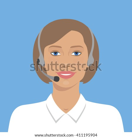 Cheerful support phone or call center operator in headset. Simple flat design. Vector illustration. Avatar portrait of on line operator.