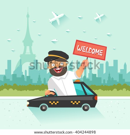 Cheerful taxi driver with Welcome placard on urban city background. Vector colorful illustration in flat style  - stock vector