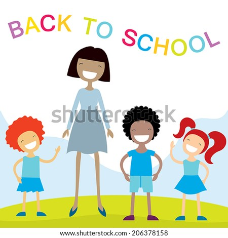 Cheerful teacher and school kids. Happy smiling cartoon characters. Vector illustration - stock vector