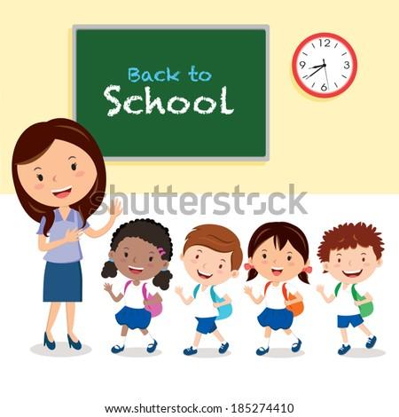 Cheerful teacher and school kids. Vector illustration of a cheerful teacher with school kids. - stock vector