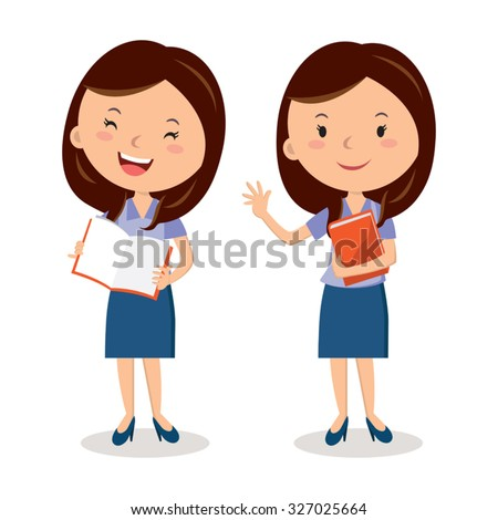 Cheerful teacher with book. lesson. Presentation. - stock vector