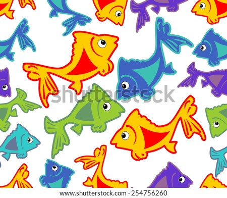 Cheerful vector background with vivid colored fish cartoons on white area